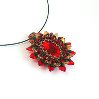 Red- black beaded pendant, beadwork handmade pendant, beaded pendant Elma