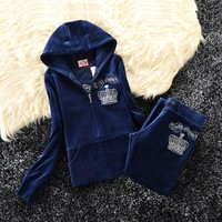Juicy Couture Studded Bright Crown Velour Tracksuit 31059 2pcs Women Suits Navy