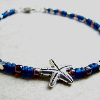 Beaded Starfish Ankle Bracelet in Navy Blue & Silver, Simple Ocean Anklet