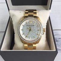 Wittnauer WN3072 Men's 44mm Pave Gold Tone Quartz Stainless Steel Watch