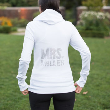 Personalized Rhinestone Bride Hoodie, Custom Bride MRS Zip Up Sweatshirt, Bride Shirt, Bling Mrs Hoodie,Custom Bridal Shower Gift