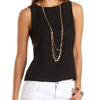 Side Cut-Out Chiffon Tank Top by Charlotte Russe