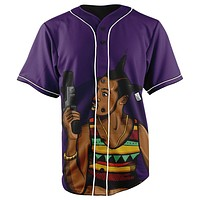 Loc Dawg Purple Button Up Baseball Jersey