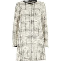 River Island Womens White check print long sleeve swing dress