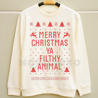 S M L - Merry Christmas Ya Filthy Animal Shirts Christmas Sweatshirt Tee Jumpers Long Sleeve Shirts Sweater Unisex Women TShirts Men TShirts