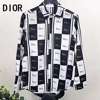 Dior Autumn Popular Men Women Casual Emulation Silk Long Sleeve Lapel Shirt Top