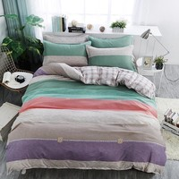 Cool Colorful stripes gray plaid lattice Bedding set Single Queen King Size Duvet Cover Set Bed Linen Quilt CoverAT_93_12