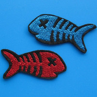 2 pcs Iron-on Embroidered Patch Fish Bone 1.75 inch