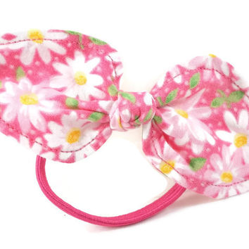 Bright Pink & White Ponytail Bow