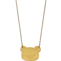 Rilakkuma Face Necklace in Mirror Gold