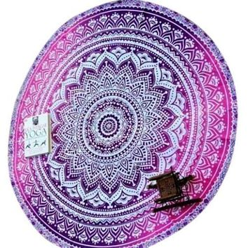 Roundie Mandala Beach Throw Scarf Wrap Bohemian Wall Tapestry Bedspread Purple Pink Gypsy Yoga Mat