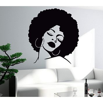 Wall Stickers Vinyl Decal  Black Beauty Sexy Hot African Woman Full Lips Unique Gift EM169