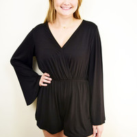 "Deep V Romper in Black ""The Trick Play"""