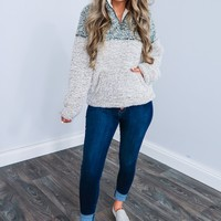 Snuggle Up Pull Over: Dusty Olive/Off White