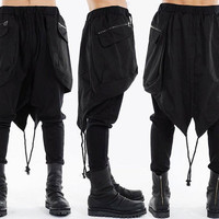 Drop Crotch Sweatpants Wuth Paeka Cape Detail