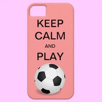 KEEP CALM AND PLAY SOCCER CaseMate iPhone 5 Case from Zazzle.com