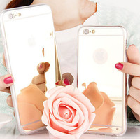"Back Cover For iPhone 6 plus 5.5"" Luxury Slim Mirror cell phone shell Plated Mirror Soft Silicon Gel Phone Skin Case"