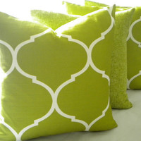 Set of (4) pillow covers  Apple Green Home Decor Trends:  Moroccan Trellis