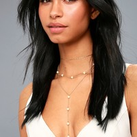 See and Be Sheen Gold and Pearl Layered Drop Necklace