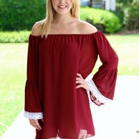 Biggest Fan Gameday Dress - Maroon and Ivory