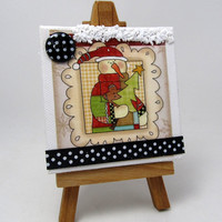 Mini Canvases Mixed Media - Winter Theme - Snowmen - Rustic Home Decor - Christmas Decor - Holiday Decor - Charming