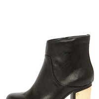Steve Madden Flight Black Leather Gold-Plated Ankle Booties