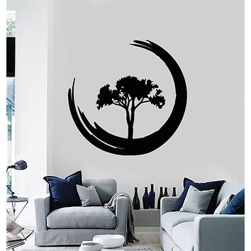 Vinyl Wall Decal Zen Circle Enso Tree Of Life Om Meditation Yoga Studio Stickers Mural (g3152)