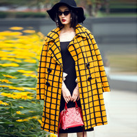 Plaid Yellow Big Button Wool Coat