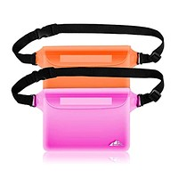 HEETA 2-Pack Waterproof Pouch, Screen Touch Sensitive Waterproof Bag with Adjustable Waist Strap - Keep Your Phone and Valuables Dry - Perfect for Swimming Diving Boating Fishing Beach
