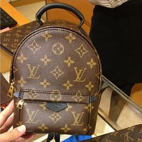 LV Louis Vuitton Stylish Woman Men Leather Travel Bookbag Shoulder Bag Backpack