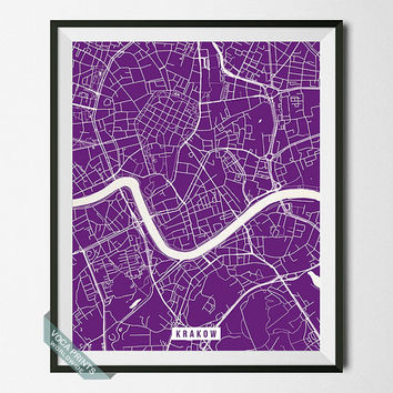 Krakow Print, Poland Poster, Krakow Street Map, Poland Map Print, Kraków, Wall Decor, Room Decor, Office Decor, Back To School