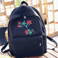 New Women School Girls Canvas Rose Embroidery Flowers Bag Travel Backpack Bag US