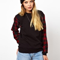 ASOS Reclaimed Vintage Sweat with Check Sleeves
