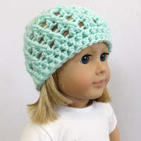 18 Inch Doll Clothes, Doll Hat, Knit Hat, Mint Green Doll Beanie