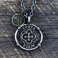 Carpe Diem Necklace and Pendant Seize the Day Charm Mens Jewelry Black Chain