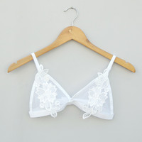 Julianne Triangle Mesh Bra in Blanc by Oh So Lovely Intimates