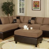 3 pc 2 tone Saddle Microfiber sectional sofa with reversible chaise and ottoman