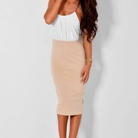 Breathe Nude and Cream Dress with Gold Straps | Pink Boutique