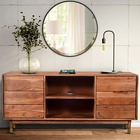 Handcrafted Wooden TV Console with Live Edge Shutter Door Cabinets, Brown By The Urban Port