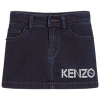 Girls Dark Blue Denim Logo Skirt