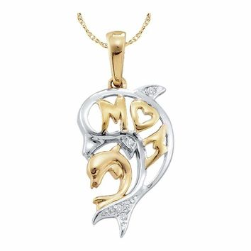 10kt Yellow Gold Women's Round Diamond Two-tone Double Dolphin Mom Pendant .03 Cttw - FREE Shipping (US/CAN)