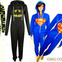 UNISEX MENS & WOMENS NEW LADIES Onesuit JUMPSUIT SUPERMAN & BATMAN JUMPSUIT/8-14