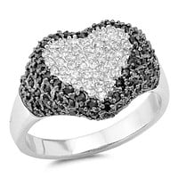 Big Pave Heart Sterling Silver White and Black Cubic Zirconia Ring