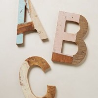 Reclaimed Wood Block Letters by Anthropologie Assorted