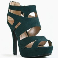 Qupid Gaze-239 Emerald Green Suede Strappy Heel @ FrockCandy.com