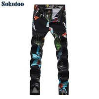 Sokotoo Men's fashion black stretch denim print jeans Casual flower birds pattern pants Long trouers