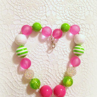 Chunky beaded necklace, bubblegum beaded necklace, newborn necklace, photo prop necklace, john deere inspired, tractor,jewelry necklace
