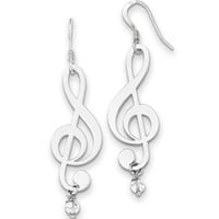 925 Sterling Silver Crystal Accent Glossy Treble Clef Dangle Earrings | Body Candy Body Jewelry