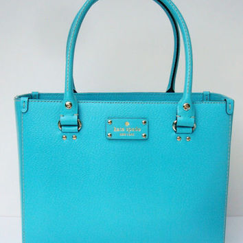 NWT Authentic Kate Spade Wellesley Quinn Leather Bag Purse Turquoise