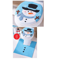 New Year christmas decorations for home christmas gifts Snowman Toilet Seat Cover and Rug Bathroom Set enfeites de natal